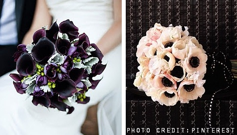 Purple calla lily bouquet and white poppy bouquet from Pinterest
