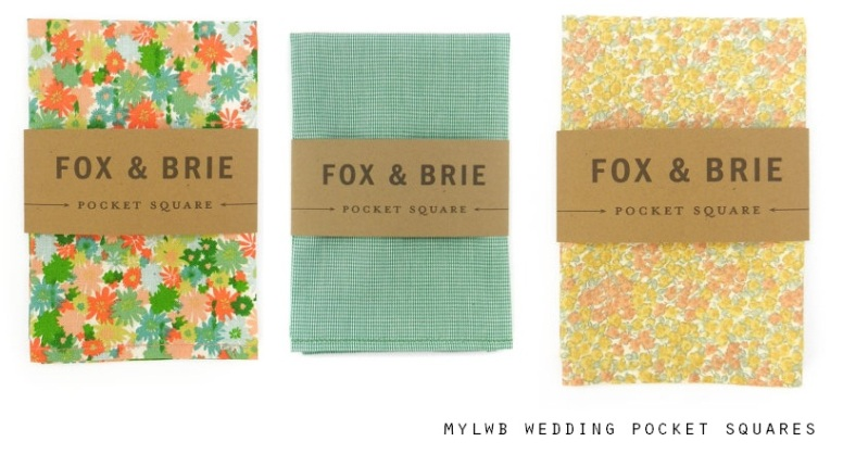 Fox & Brie Wedding Pocket Squares