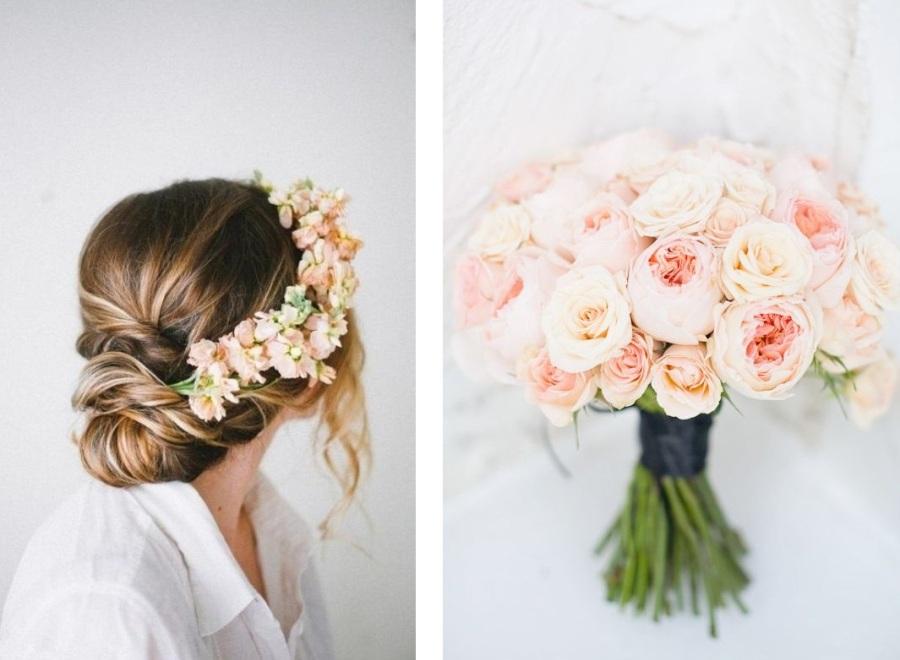 peach flowers in hair