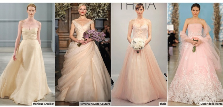 peach wedding dresses