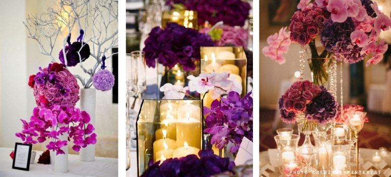 Radiant Orchid wedding table arrangement